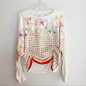 Anthropologie Tiny Ruched Front Floral Blouse XS